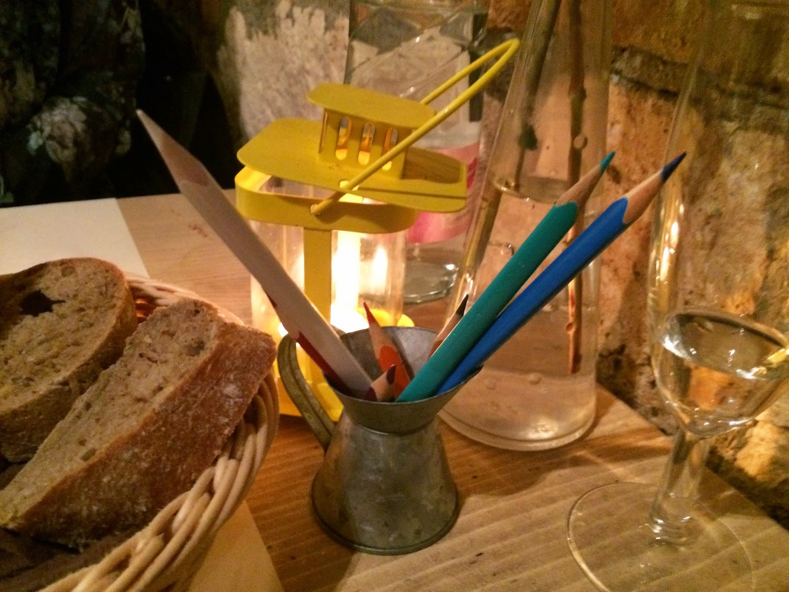 A pot of pencil crayons - Zeller Bistro, Budapest