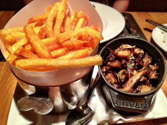 Pommes frites and mushroom fricassée