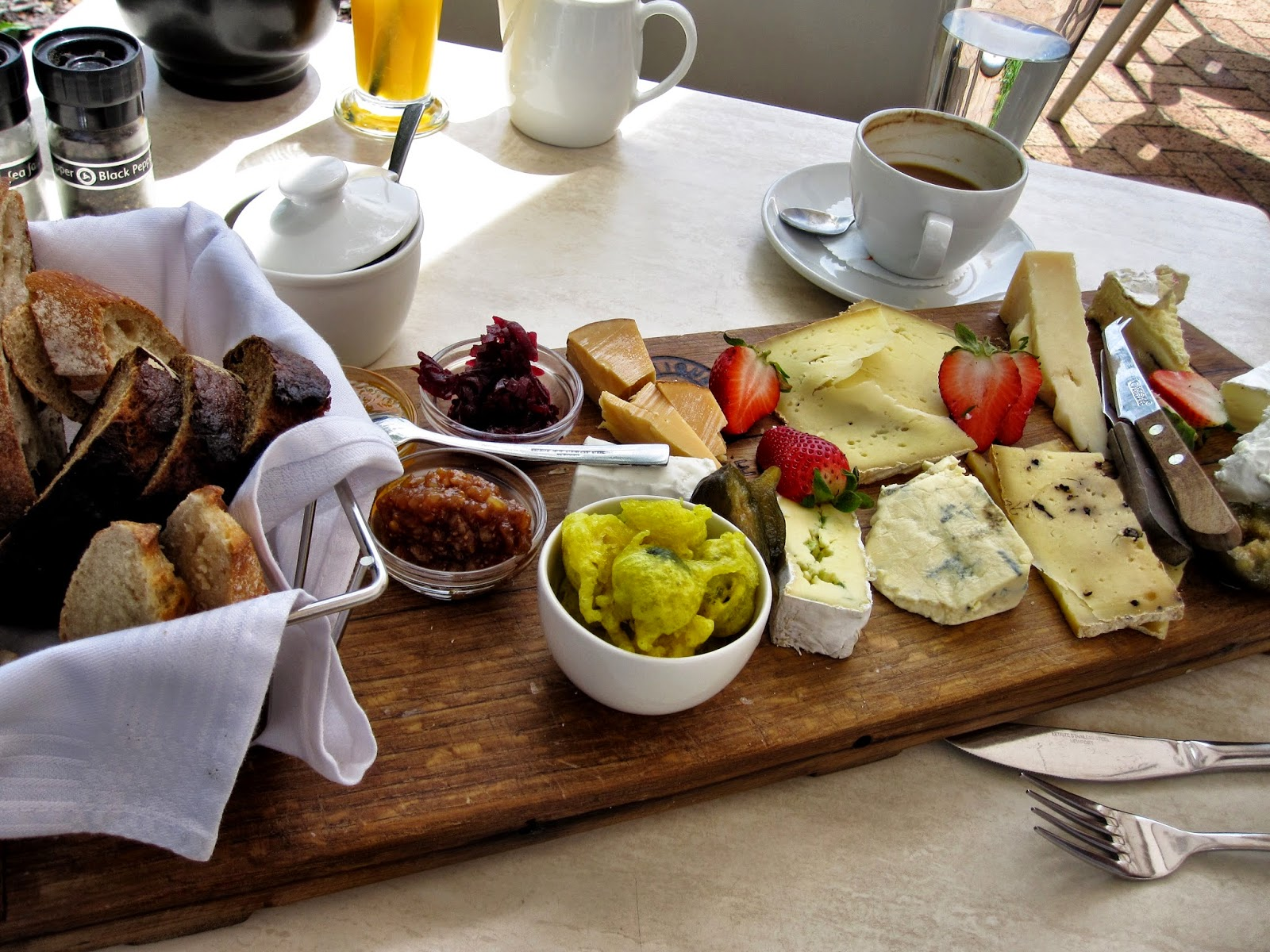 Cheese platter from a winery in Franschhoek