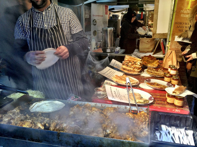 Moroccan harissa chicken wraps - Real Food Market, South bank, London