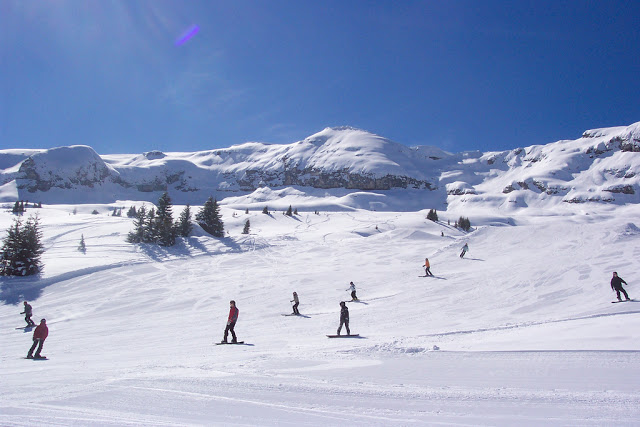 The sun hits the slopes in Flaine, France