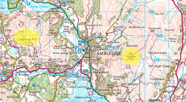 Map highlights of beginner walks around Ambleside, Lake District