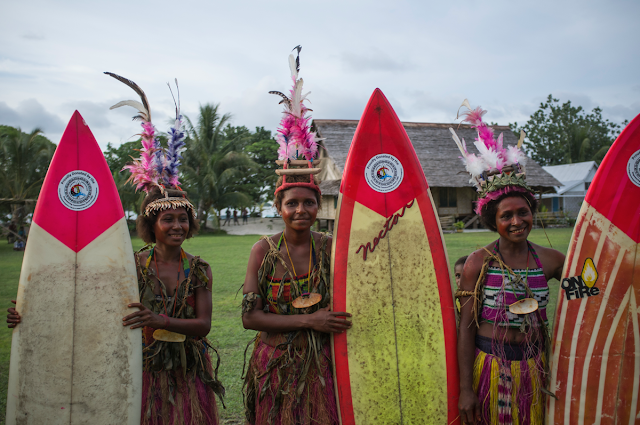Papua New Guinea Women Surfers with surfboards