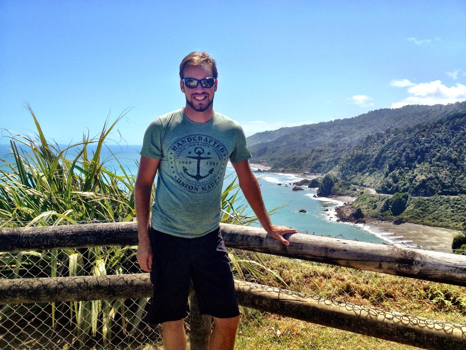 Simon overlooking New Zealand's South Island coastline (West)
