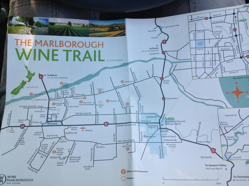 Marlborough wine trail map - New Zealand