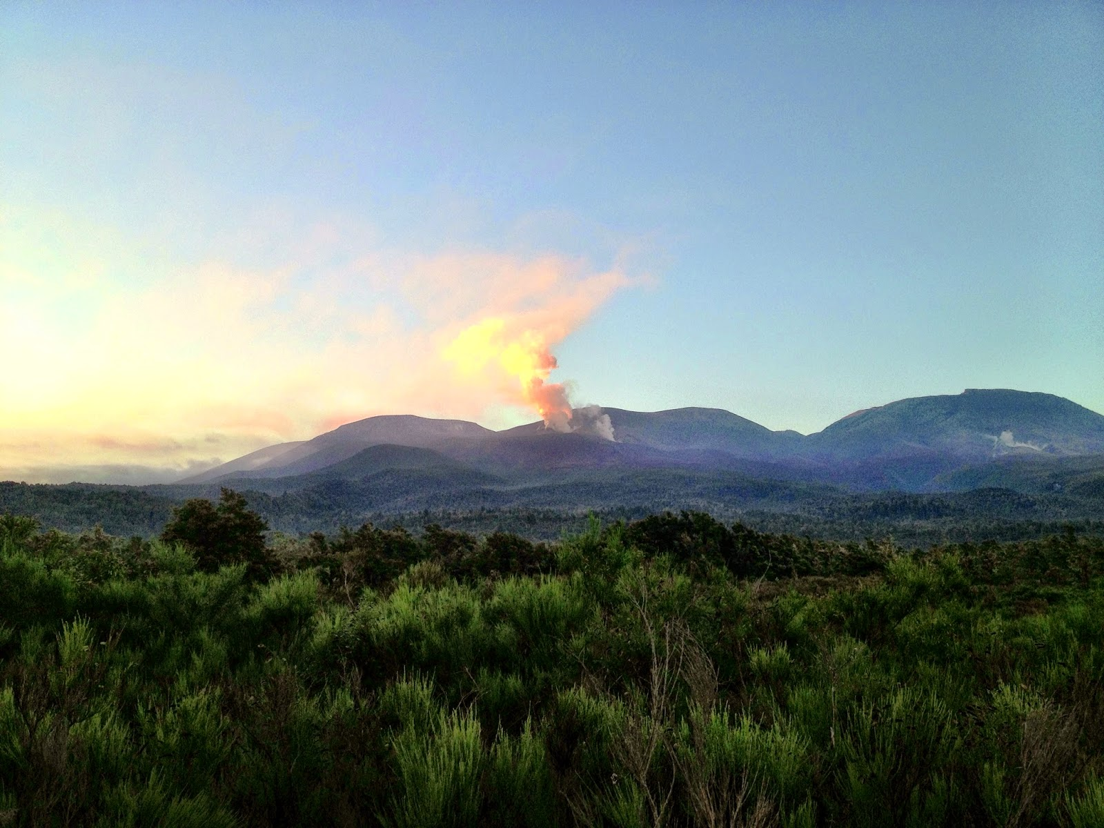 Steam and gas from Mount Tongariro, New Zealand