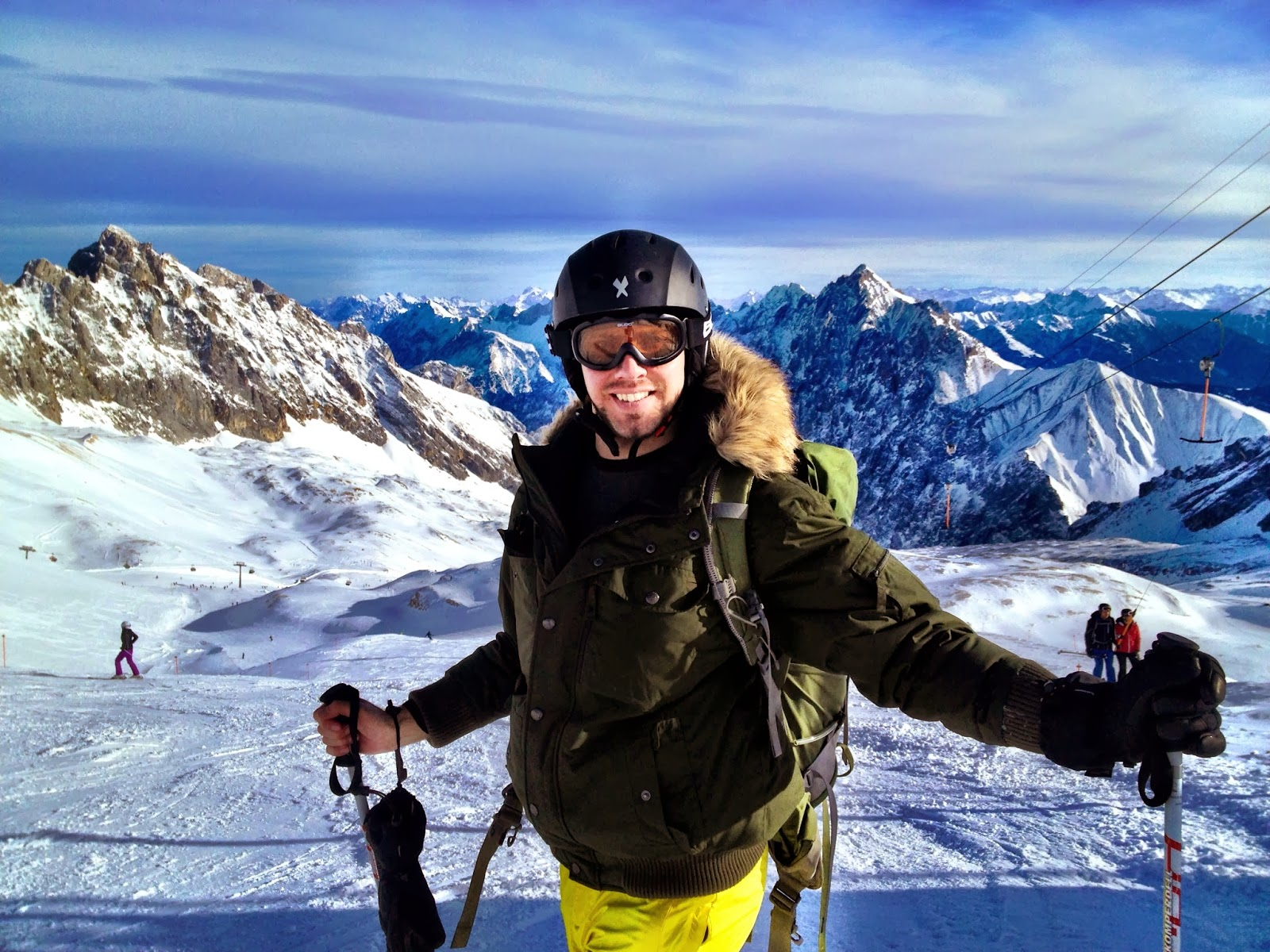 Simon skiing on the Zugspitze, Germany
