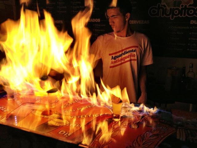 Flaming shots in Chupitos, Medellin