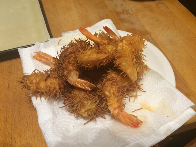 Deep fried spiky urchin prawns - Tenedor tours cooking class - San Sebastian, Basque Country