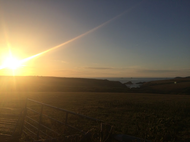 A bright sunset of the West Coast of Cornwall