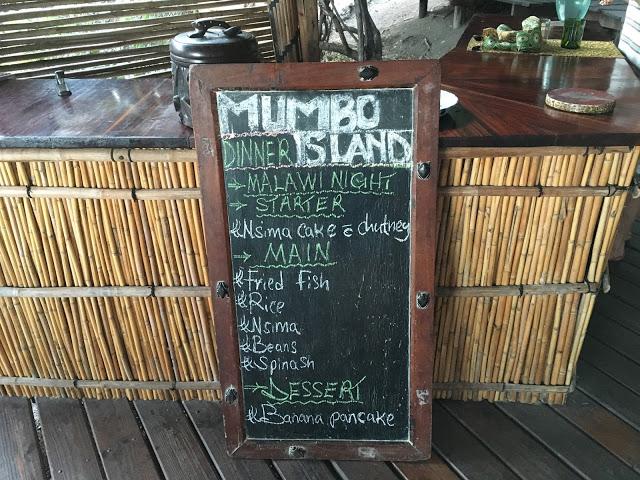 Mumbo Island dinner menu - Kayak Africa