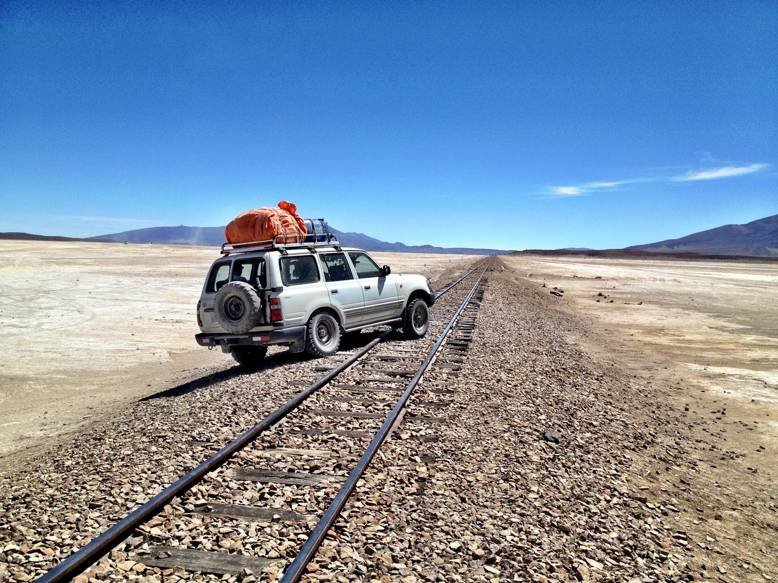 Crossing a train track - Salar de Uyuni, Bolivia