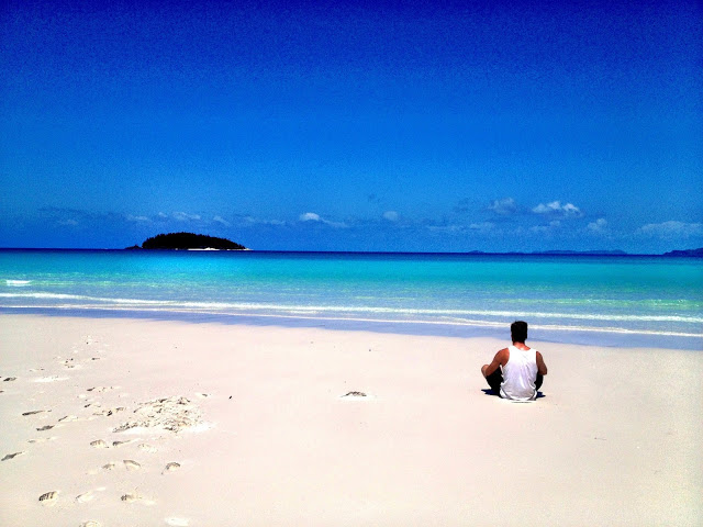 Sat in awe of the stunning Whitehaven Beach