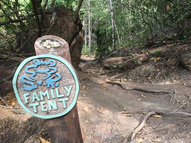 Family tent sign, Mumbo Island