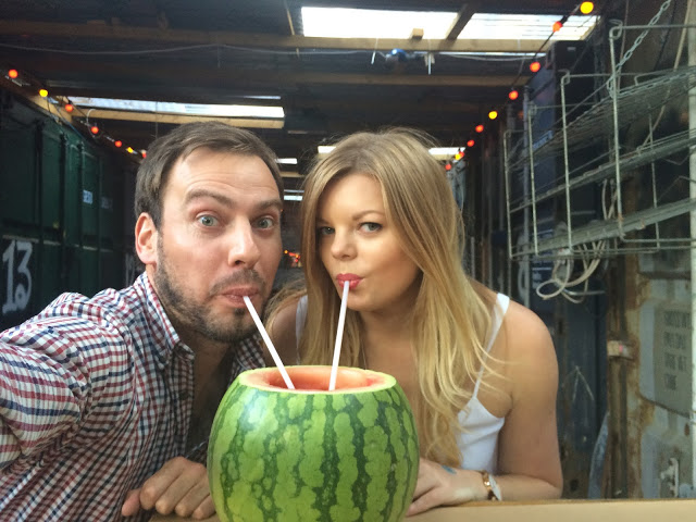 Simon and Claire enjoying a watermelon cooler cocktail, National Burger Day 2015