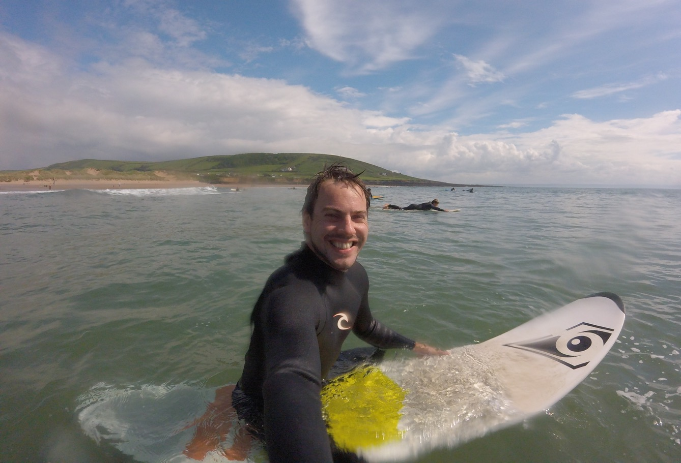 Sat waiting for waves - surfing in Croyde, Devon - GoPro