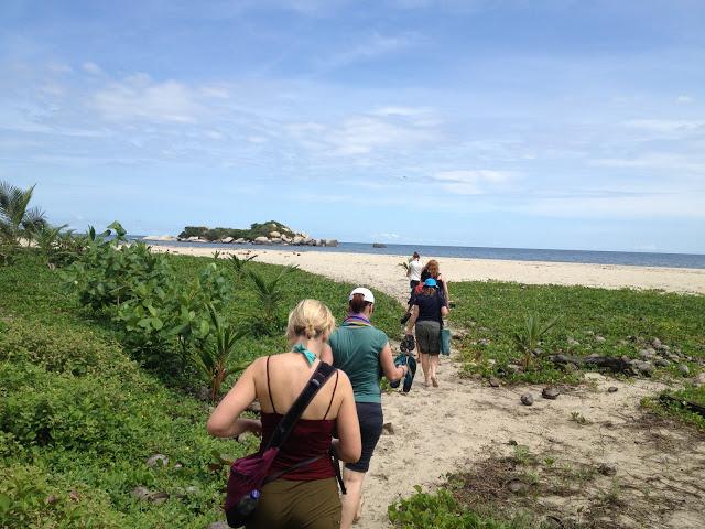 Walking onto Arrecifes Beach in Tayrona National Park