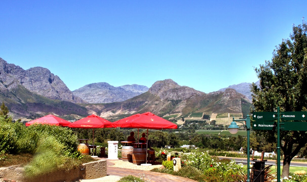 View from Haute Cabriere winery, Franschhoek