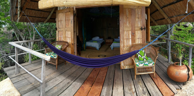 The view into one of the lake view twin / double rooms, complete with hammock - Mumbo Island