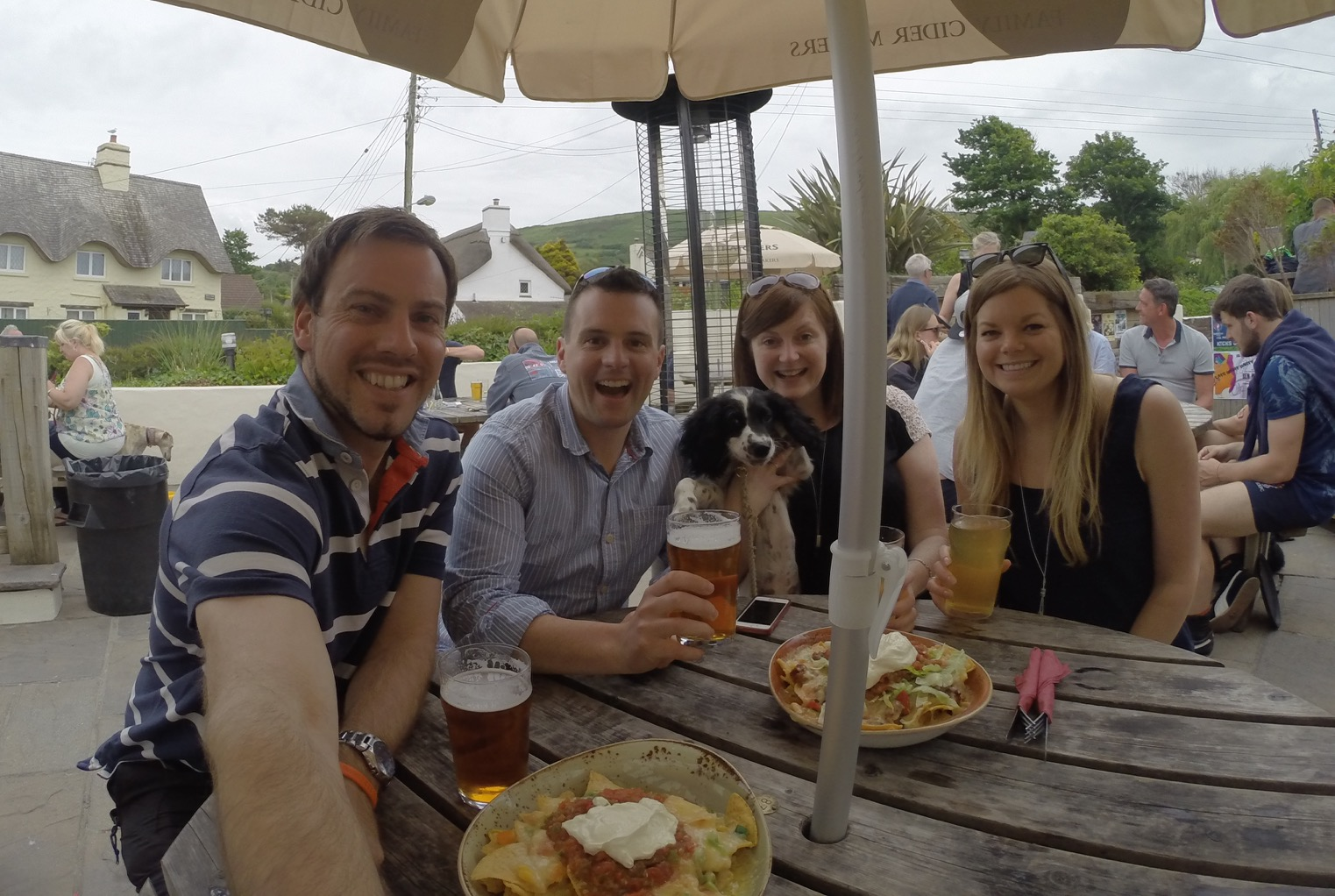 Enjoying the cider and food at the Thatch pub, Croyde