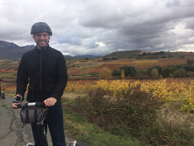 Simon taking a Segway tour through a Rioja Alavesa vineyard / bodega