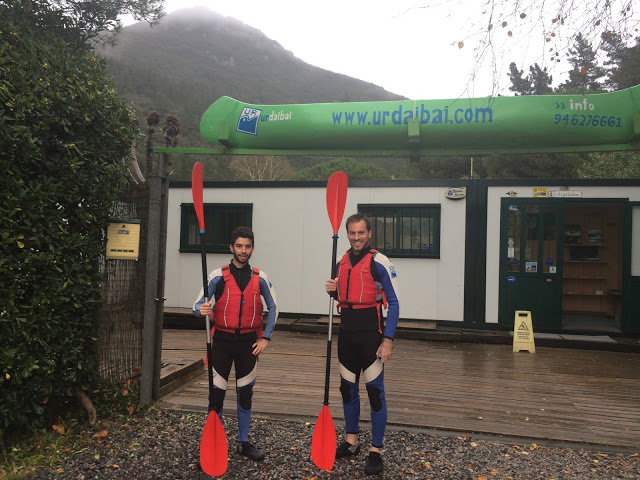 Wetsuits on and ready to kayak in Urdaibai, Basque Country
