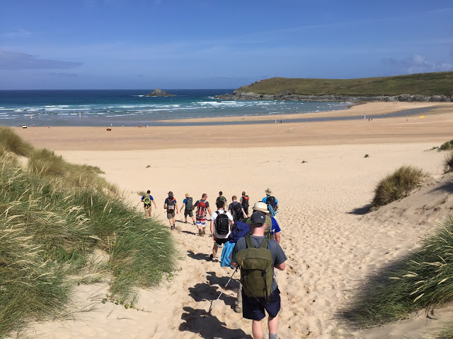 Hiking down to another beach on the South West Coast Path