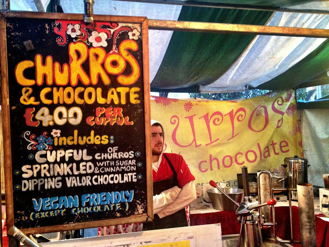 Churros and chocolate - Real Food Market, South Bank, London