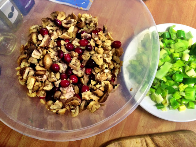 Cranberry, chestnut, leek and sausagemeat stuffing for the multi-bird roast