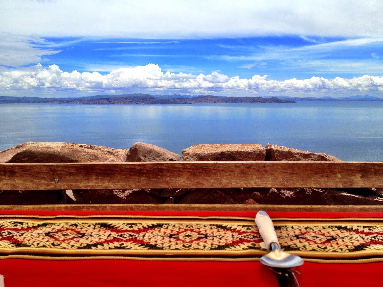 Lunch view on Taquile Island - Lake Titicaca, Peru