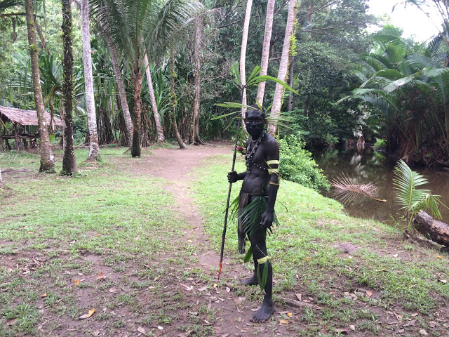 A man with a spear greets unknown people at the entrance to a village to learn if they are friend or foe - Papua New Guinea