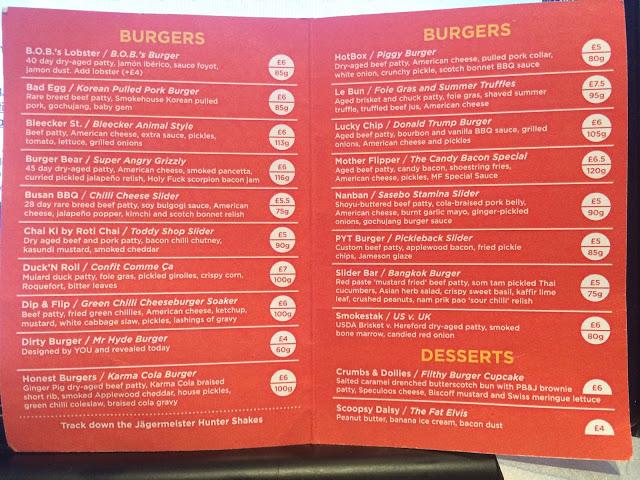 Mr Hyde National Burger Day 2015 Menu