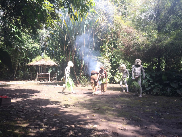 The clay mud men make their way through the village, scaring off the Kuli tribe - Mount Hagen