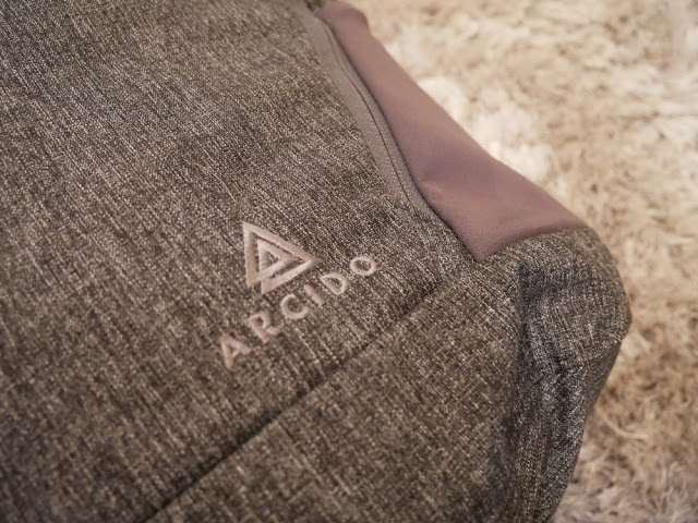 The Arcido Faroe Backpack Fabric and Logo