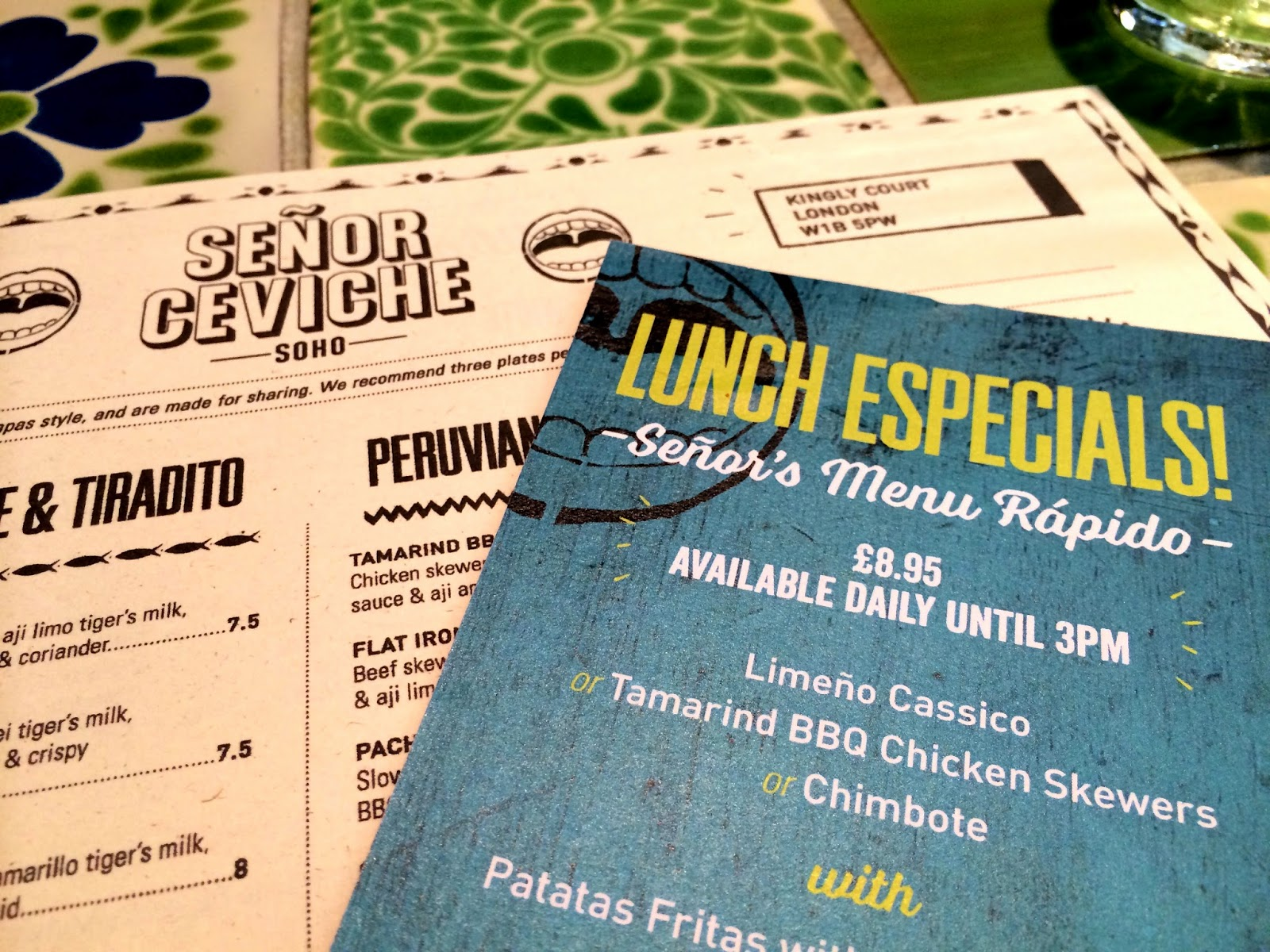 Senor Ceviche - London lunch menu