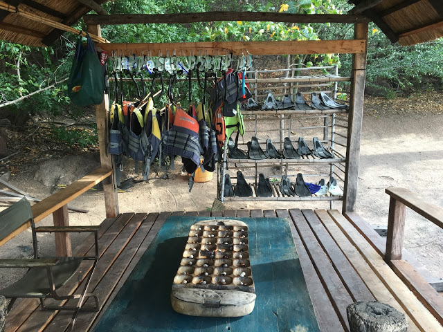 Snorkelling equipment on Mumbo Island
