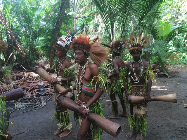 Local Oro Province tribespeople perform a traditional sing-sing - Papua New Guinea
