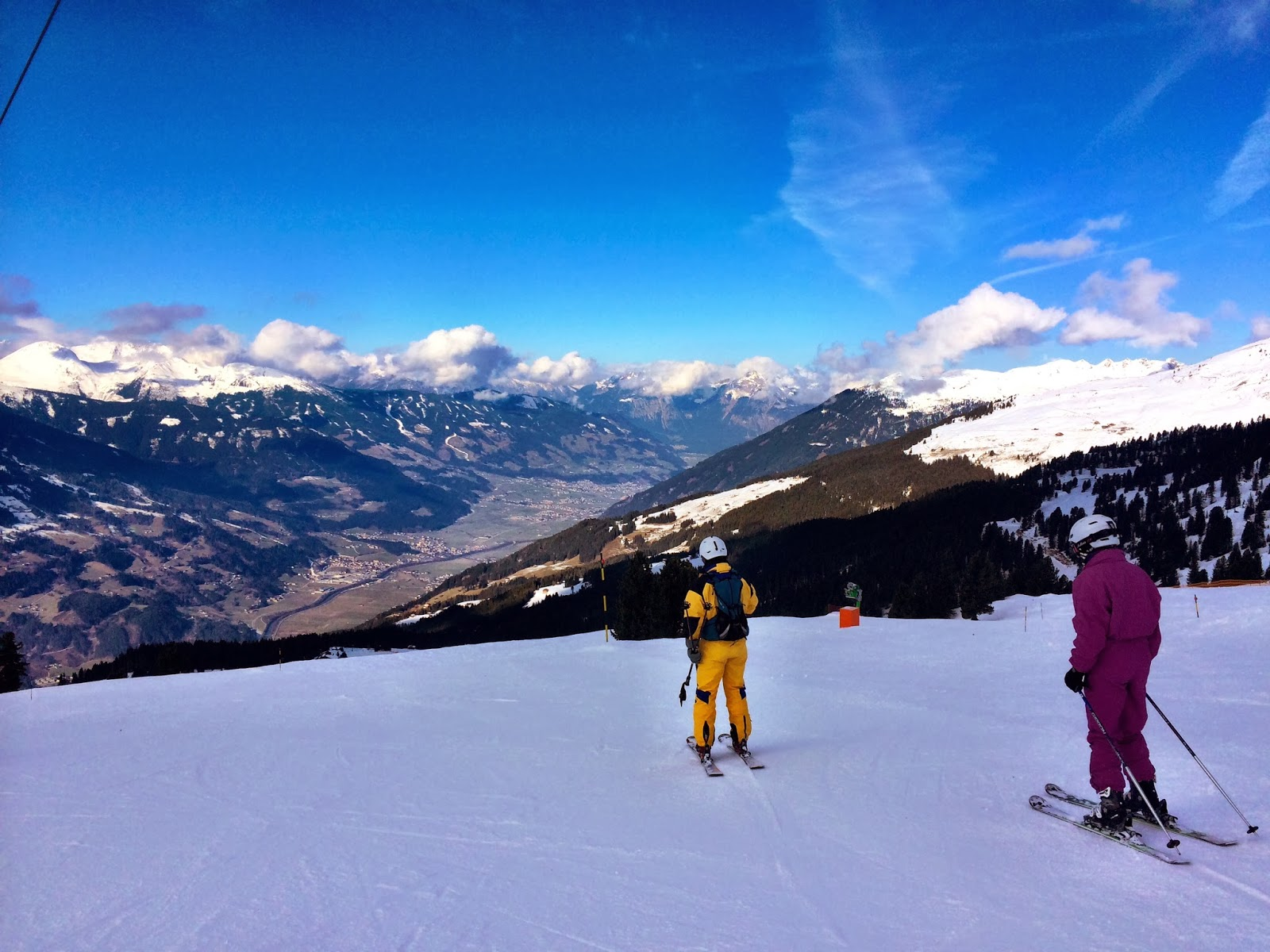 A piste looking down over Mayrhofen