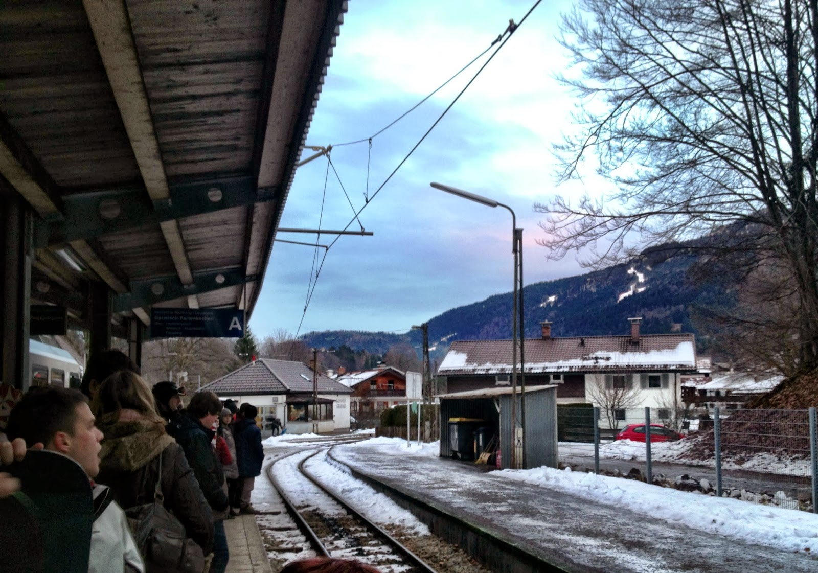 Changing trains at a snowy Grainau