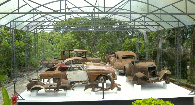 The remaining collection of old and antique cars at Hacienda Napoles