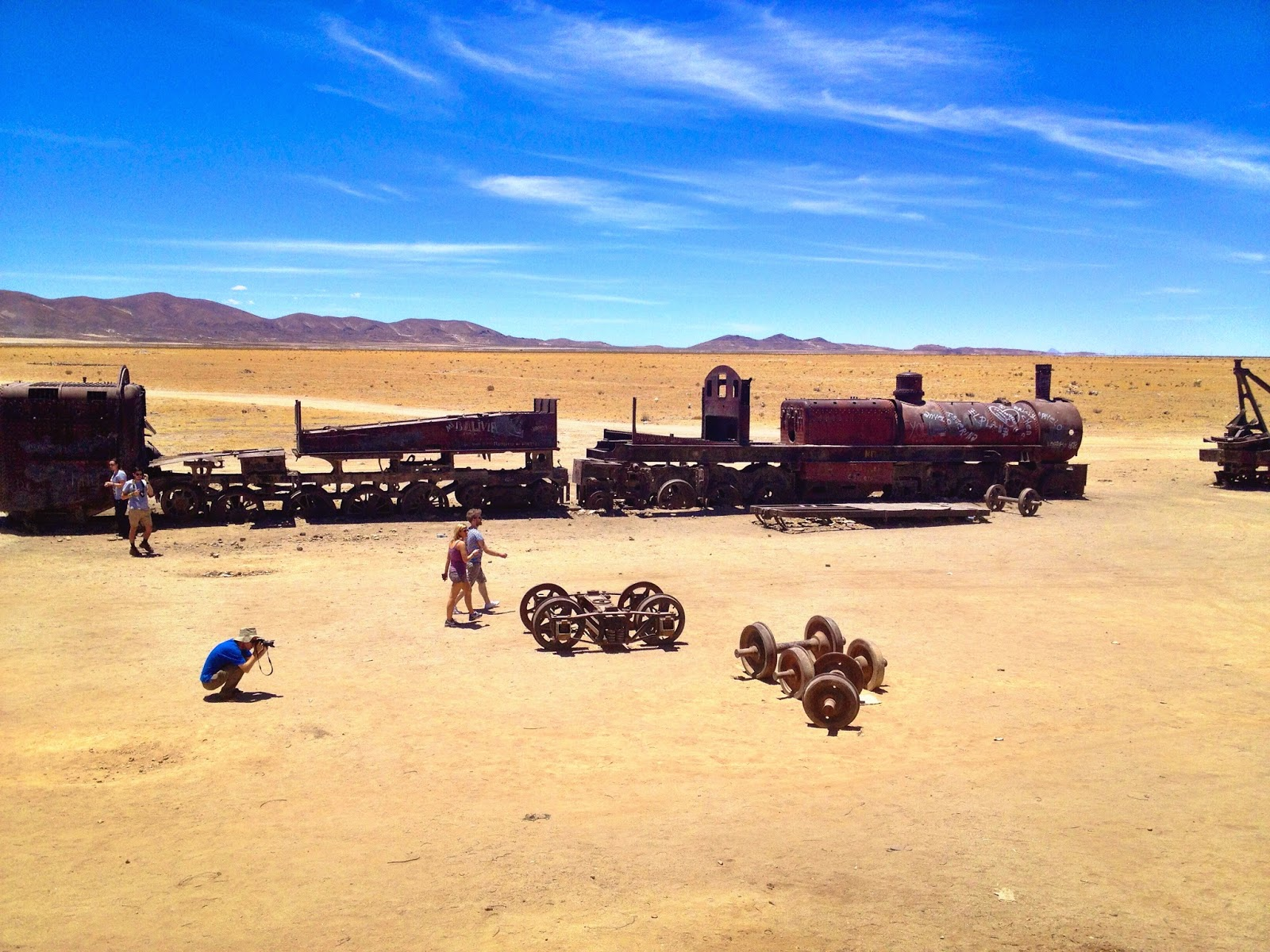A shot from the top of a train - train graveyard - Uyuni, Bolivia