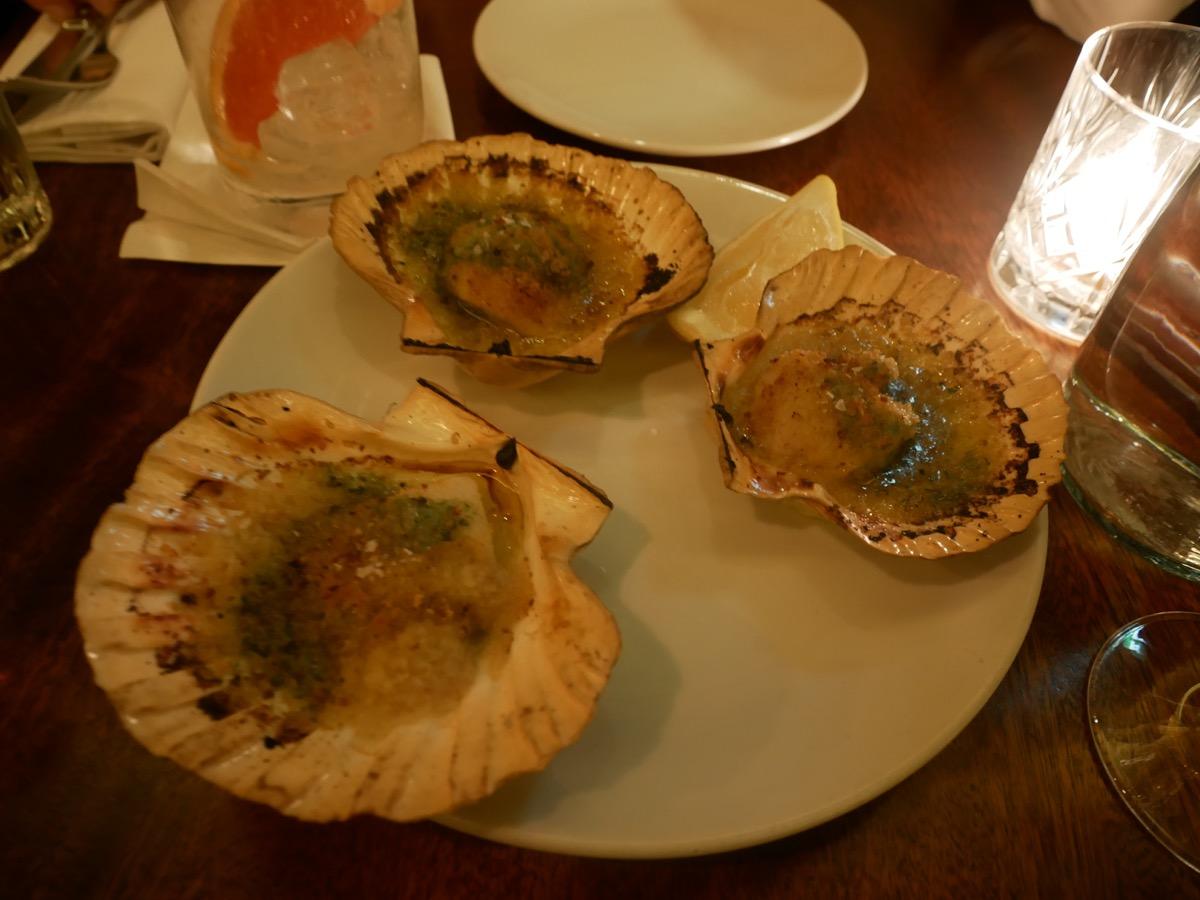 Roast scallops with white port and garlic - Hawksmoor Seven Dials, London