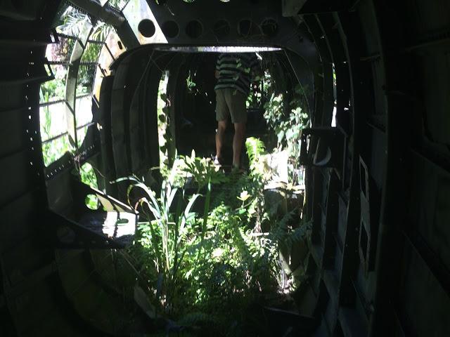 Dad explores the inside of the Lockheed Ventura