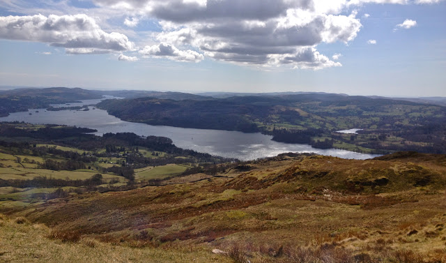 The views over Lake Windermere from Wansfell Pike