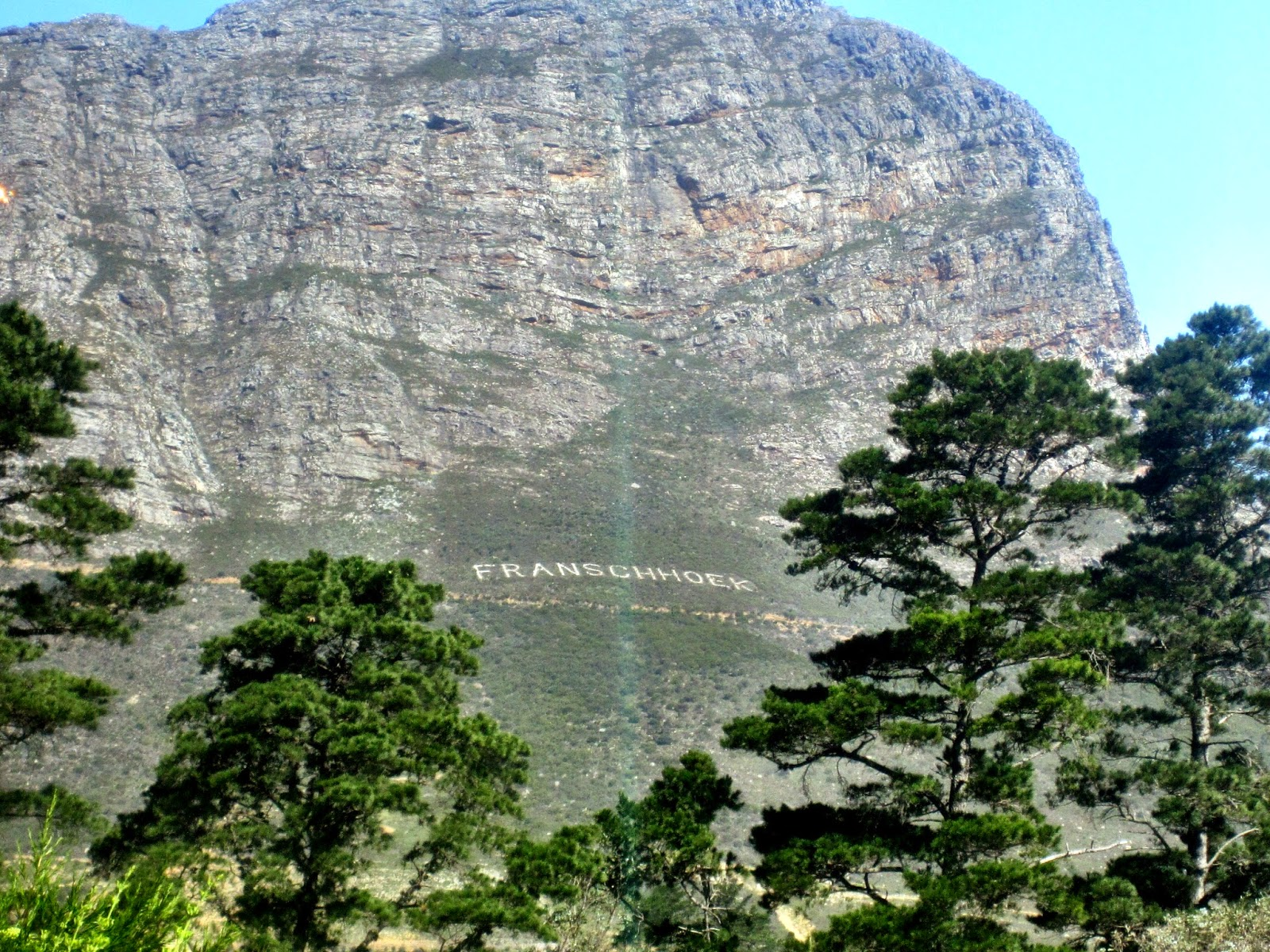 Franschhoek name carved into the mountain
