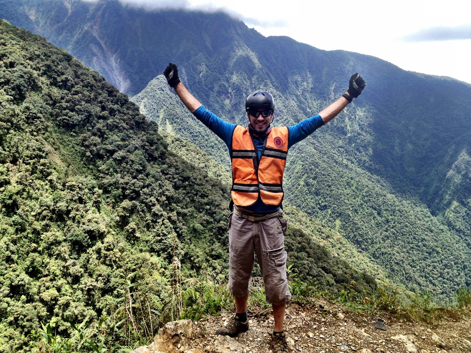 Simon on North Yungas Road - the world's most dangerous road, in Bolivia