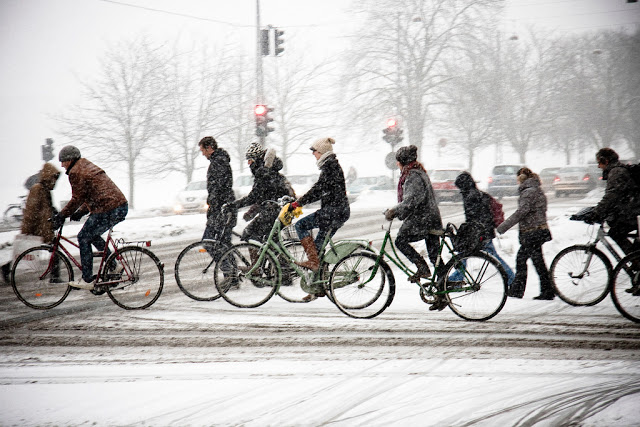 Cycling in Copenhagen in a snowy winter