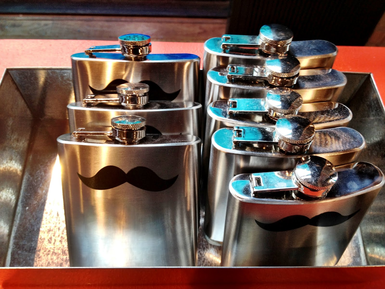 Gentlement moustache hip flask