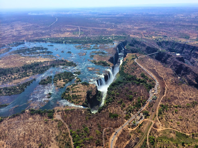 The view of Victoria Falls from a helicopter - Zimbabwe
