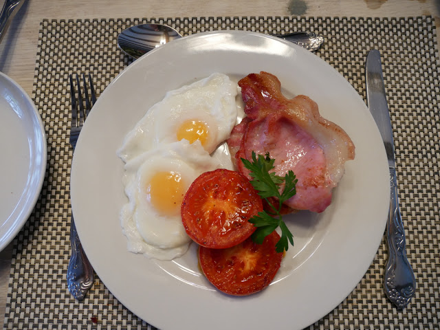 Eggs and bacon breakfast at Swan House B&B, Hastings
